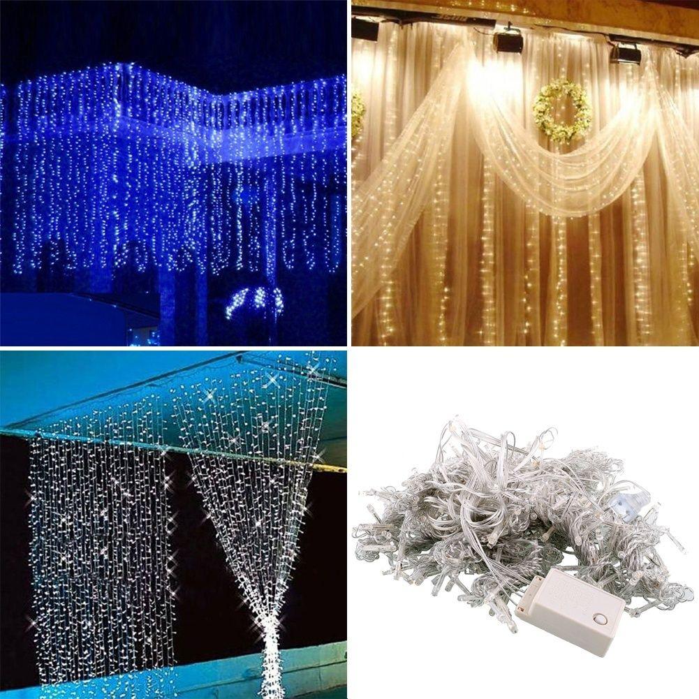Livraison gratuite, 3*3 m 300 LED rideau bonne année lumières de noël décor fête de mariage décoration maison de noël décorations. Q
