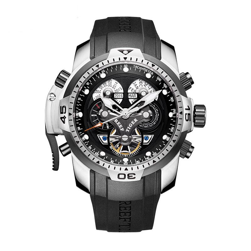 Reef Tiger Aurora Serier RGA3503 Men Sport Military Multifunction Dial Automatic Mechanical Wrist Watch - Rubber Watchband