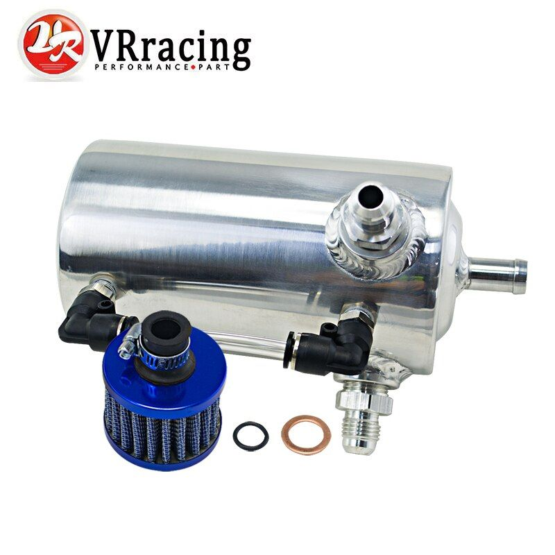 VR RACING - 0.5L Polished Oil Catch Can Breather Tank With AN6 6AN Inlets Fitting and Blue Breather Filter WLR-TKAN06SLBL