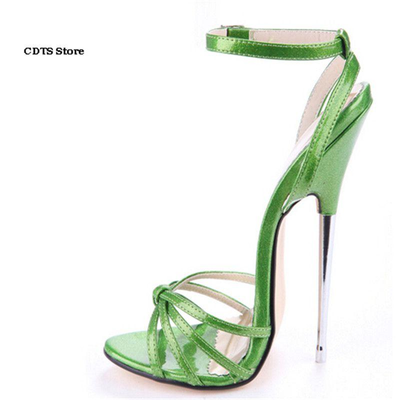CDTS Crossdresser sexy Sandalen Plus: 35-45 46 Sommer Rosa/Grün Sommer 16 cm ultra high heels weibliche schuhe frau Knöchelriemen pumpen