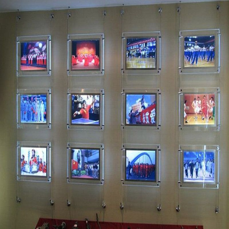 (10unit/Column) A4 Single Sided Wall to Wall Suspended Estate Agents LED Displays,Led Window Property Displays