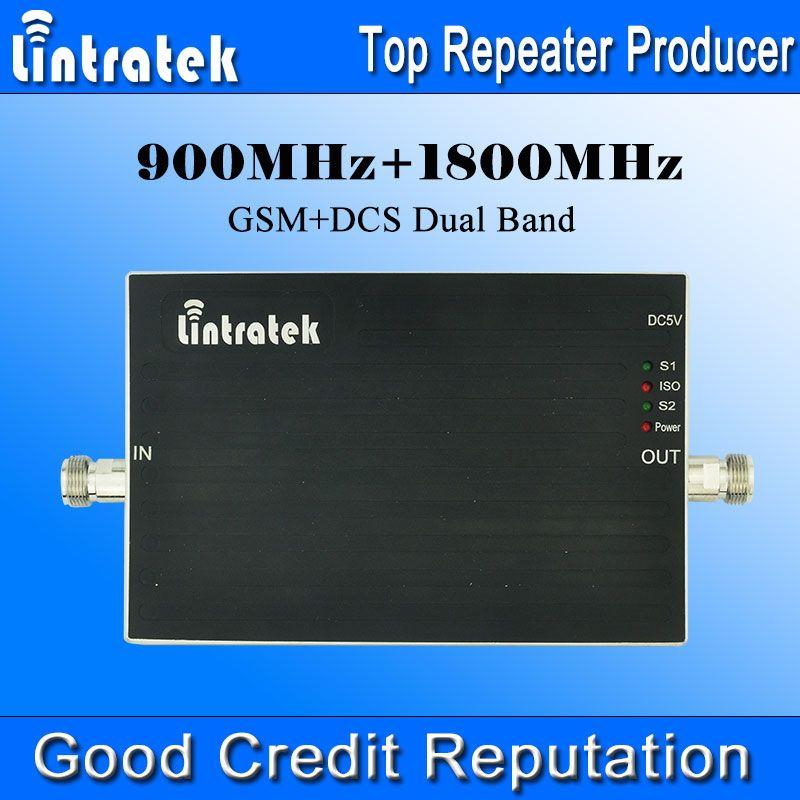 Lintratek 900 1800 Booster 65dBi GSM Repeater 900 1800 DCS Dual Band Signal Booster Mini Größe AGC Dual Band Signalverstärker @