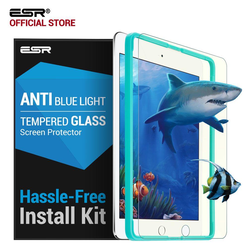 Protecteur d'écran pour iPad 2017/Pro 9.7/Air 2/Air ESR 0.33mm verre trempé Anti-rayons bleus avec applicateur gratuit pour nouvel iPad 2018