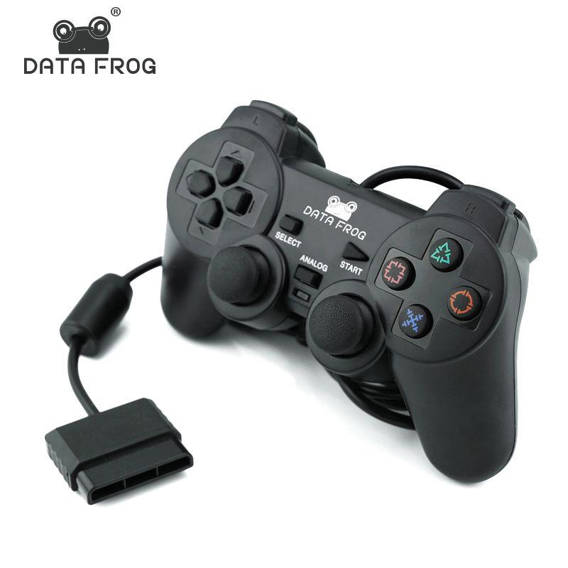 Contrôleur de manette filaire Data Frog pour Sony PS2 Double contrôleur de vibrations manette Gamedpas pour PlayStation 2