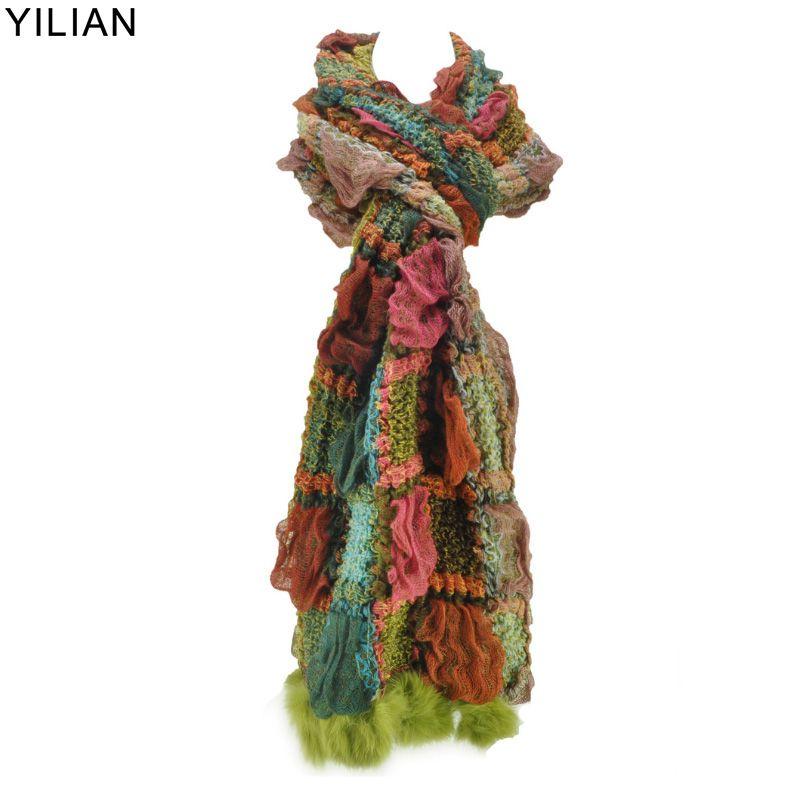 YiLiAN Marque 6 Couleurs Chaud Foulards Nouvelle Arrivée Femmes Plicatif Bloc de couleur Tricoté Écharpe de Fourrure De Lapin SF462