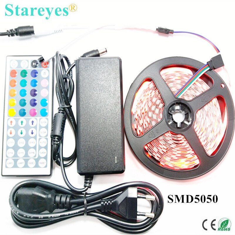 1 set 5M 300 LED SMD 5050 RGB LED strip <font><b>DC12V</b></font> tape Non Waterproof Strip flashlight lighting with IR Remote + 5A Power Adapter