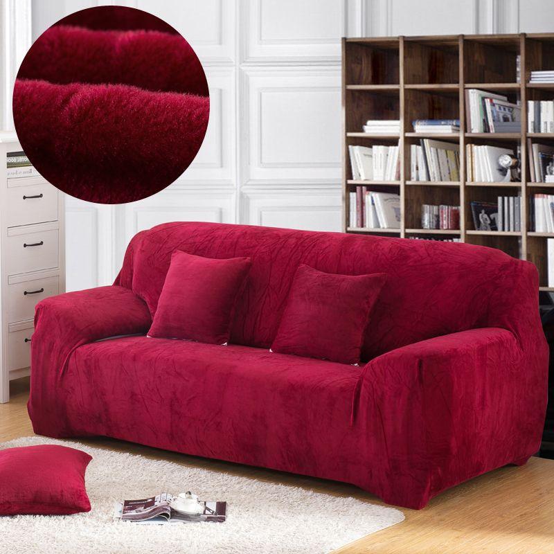 Housse de canapé épaisse en peluche élastique pour salon housse de canapé velours résistant à la poussière pour animaux de compagnie housses de canapé sectionnel tout compris