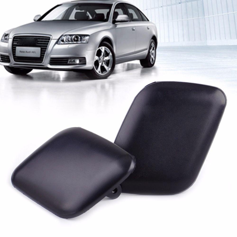 DWCX Car 1 Pair Matte Black Front Bumper Headlight Washer Cover Cap 4B0955275 / 4B0955276 for Audi A6 C5 1998 1999 2000 - 2002
