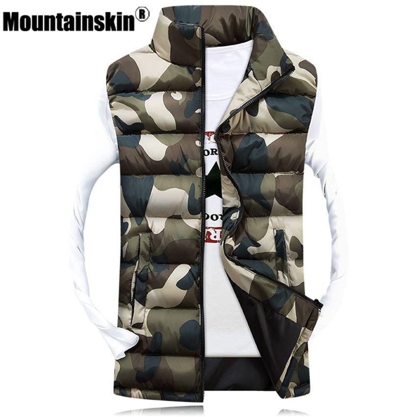 Mountainskin männer Camouflage Weste Winter Männer Jacke Sleeveless Beiläufige Männlich-weibliche Camo Weste Slim Fit Marke Kleidung SA031