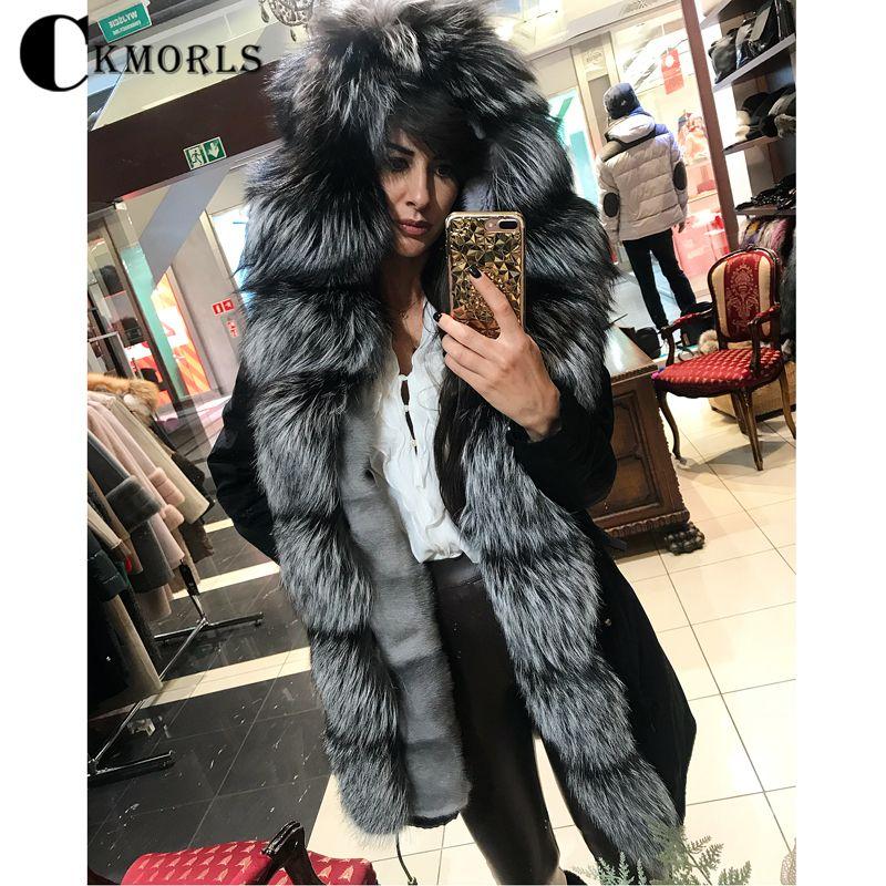 CKMORLS Real Fur Parka With Natural Silver Fox Fur Collar Black Jacket For Women Winter Outwear Thick Warm Coats Plus Size Parka