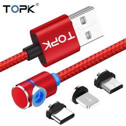 Topk rline-L 90 grados tipo L cable magnético, nylon trenzado LED cargador y cable micro USB Cable y USB tipo C cable C USB