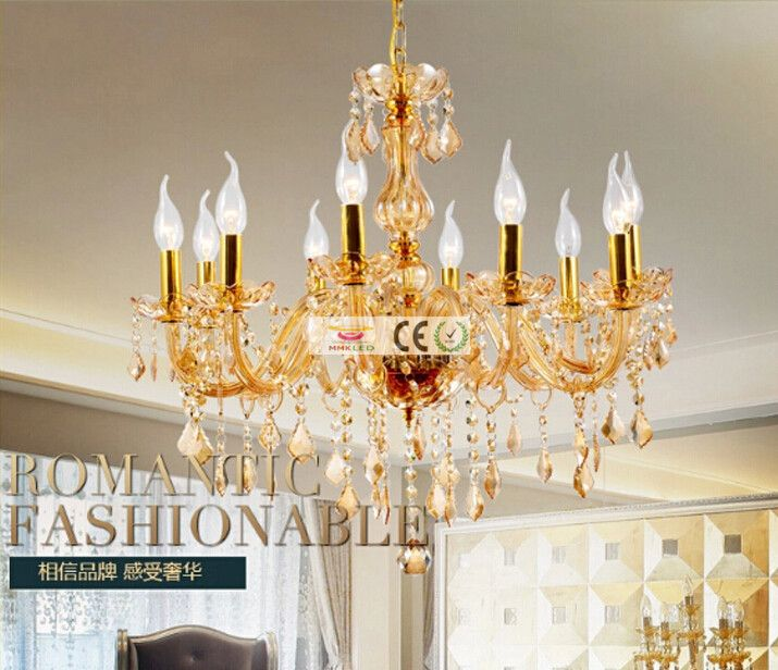 Modern Gold/transparent Crystal candelabra Chandelier Lamp With 8 Arms For Dining Room And Bedroom Lighting AC110-240V