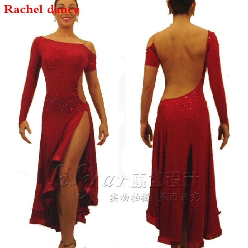 2017 Diamond Latin Dance Dress Girl Shoulder Style Long Sleeves Sleeveless Samba Ballroom Tango Dance Clothing Latin Dance Dress