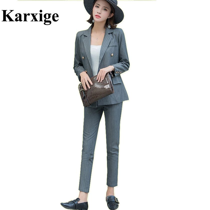 2017 Autumn New Classic Version Lapel Design golden Metal double breasted Strip High End Female slim Lady Suit women office