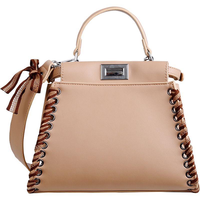 2017 Winter Women Peekaboo Bag Bow Shoulder Bags for Ladies High Quality Weave Handbags Tote Purse