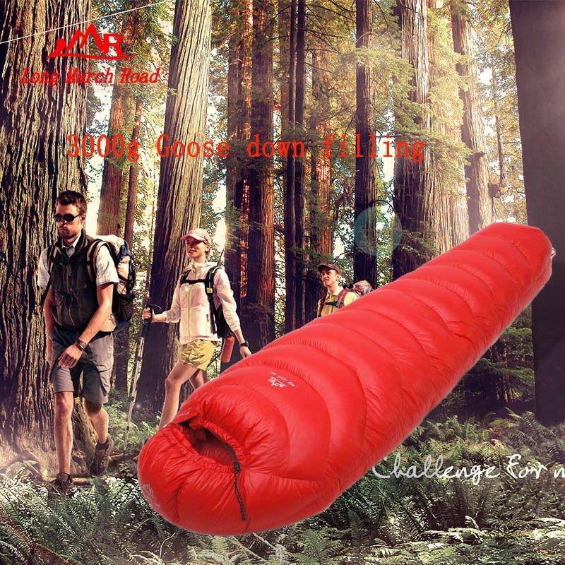 LMR ultra-licht 3000G gans unten füllung outdoor camping spleißen mummy winter schlafsack