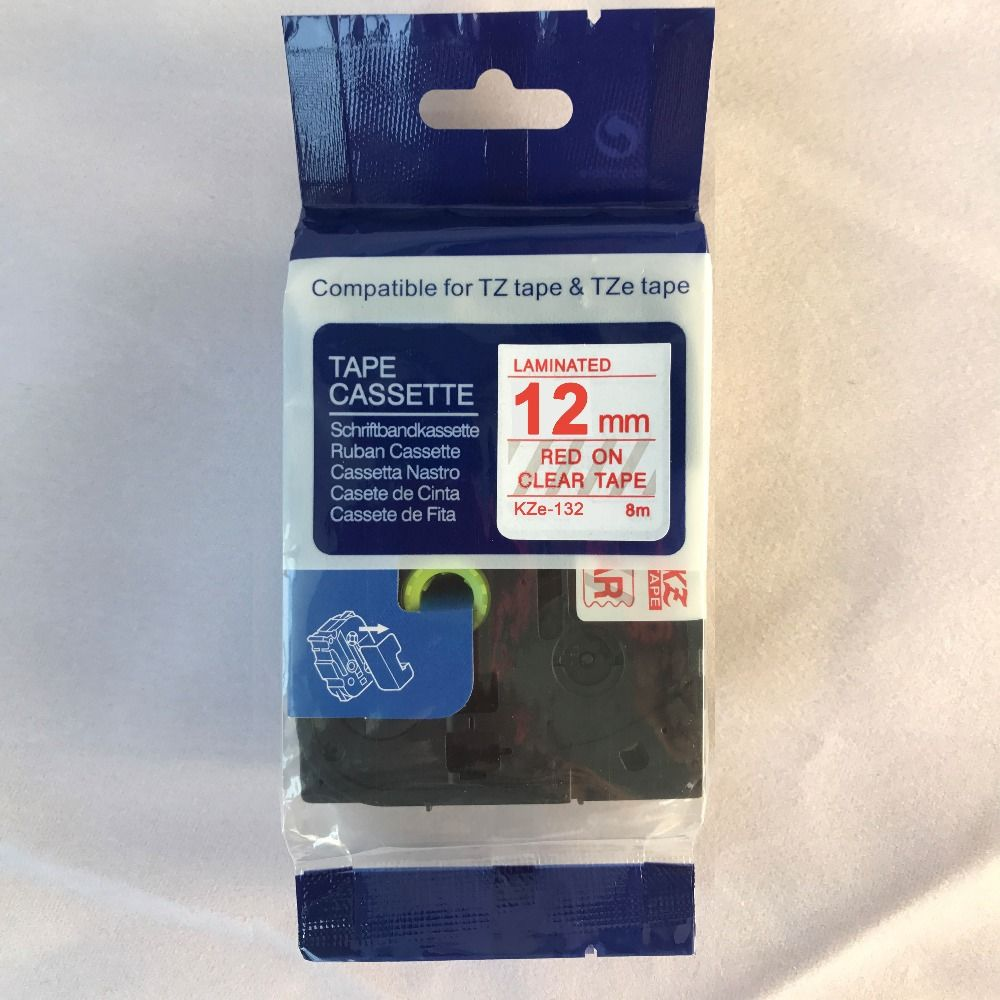 cidy Red on clear tape 12mm TZe132 tz132 tze 132 tz 132 Compatible brother label printers laminated tape