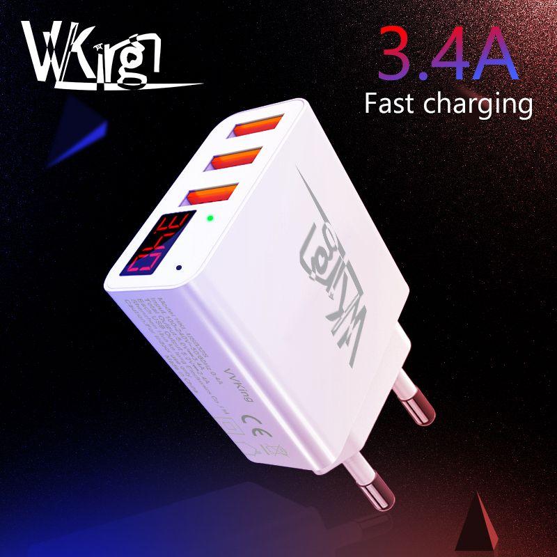 VVKing chargeur USB 3.4A Smart LED de charge rapide affichage EU/US 3 Ports USB pour iPhone Samsung Xiaomi Huawei chargeur mural de voyage