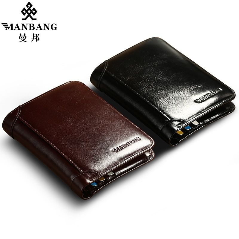 ManBang Classic Style Wallet Genuine Leather Men Wallets Short Male Purse <font><b>Card</b></font> Holder Wallet Men Fashion High Quality