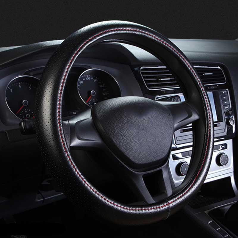 Couvre-volant en cuir véritable trou respirant couvre-volant Auto pour accessoires intérieur Auto voiture 38 CM