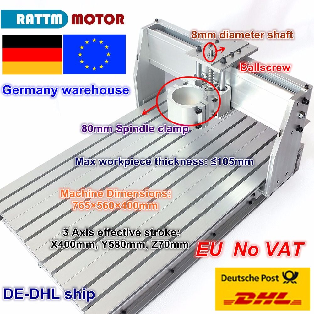DE ship/free VAT DIY use 6040 CNC Router Engraver Engraving Milling Machine frame Kit Ball Screw & 80mm Aluminum Spindle Clamp