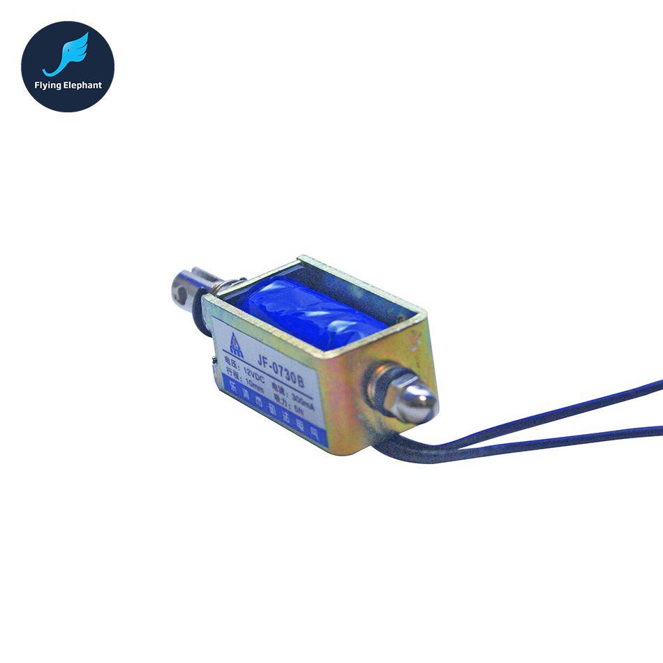 DC12V or 24V 0.3A Push Type Open Frame Linear Solenoid Electromagnet Suction 80g 0.3A 10mm 8N Holding