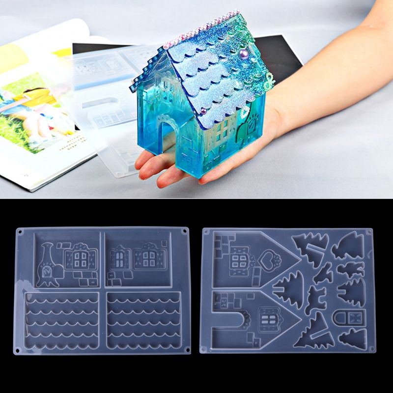 New JAVRICK DIY Silicone Christmas House Castle Mold Epoxy Resin Jewelry Making Tool Set