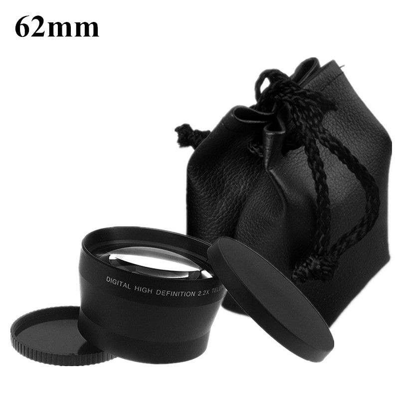 Camera Lens 62mm Telephoto 2.2X LC-62 2.2 X Optical Tele Lenses Bag Cap 82mm for Canon For Nikon Sony Lens Accessories