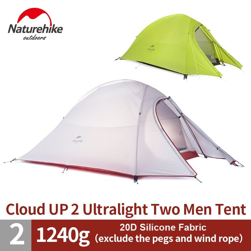 NatureHike 1.2KG 2 Person Ultralight Tent  20D Silicone/210T Plaid Fabric Tent Double-layer Camping Tent NH15T002-T