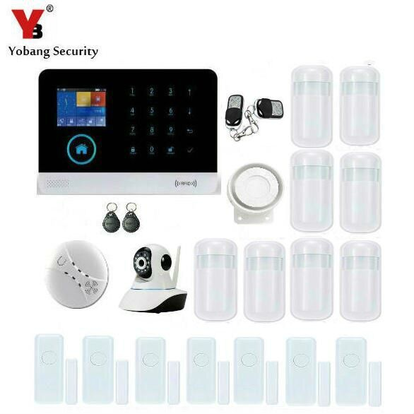 Yobang Security APP Control Network IP Camera Surveillance WIFI GSM Alarma Mini Smart PIR/Door Magnetic Sensor Smoke Alarm Kits