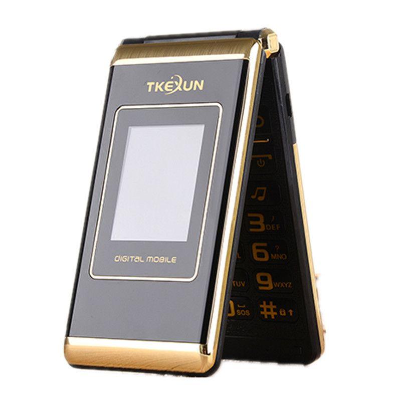 TKEXUN M1 Femmes Flip Téléphone Avec Double Double Écran Dual Sim Caméra MP3 MP4 Écran Tactile De Téléphone portable de Luxe