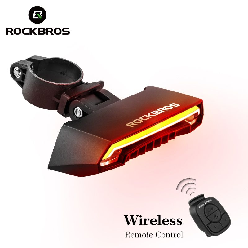 ROCKBROS Bicycle Light USB Rechargeable Tail Light LED Warning Rear Lights Cycling Smart Wireless Remote Control Turn Signal