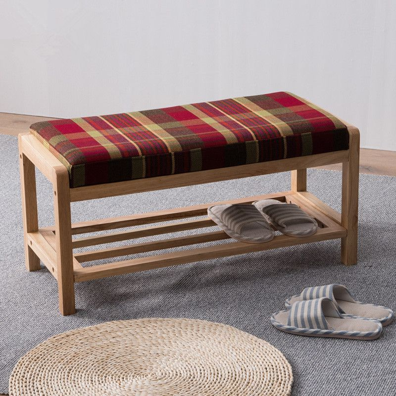 Modern Wood Shoe Rack Storage Organizer & Hallway Bench With Cushion Living Room Furniture Shoe Shelf Holder Storage Organizer