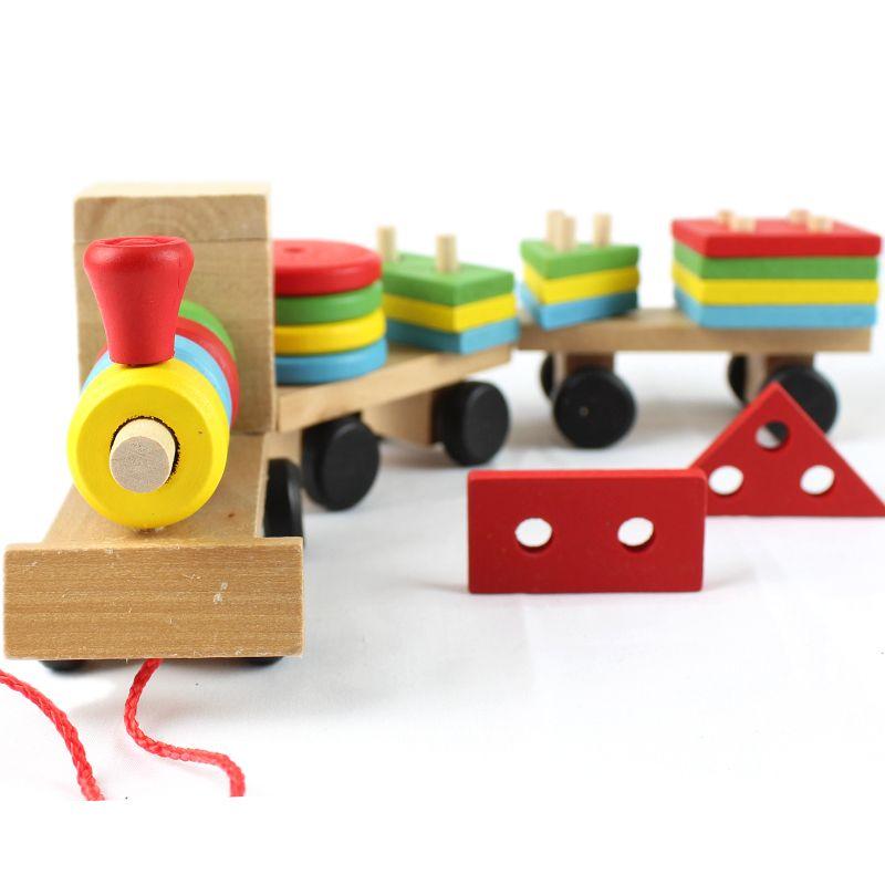 Бесплатная доставка цена по прейскуранту завода детские развивающие Три маленьких поездов игрушки, деревянные блоки поезда, дети Модели Зд...