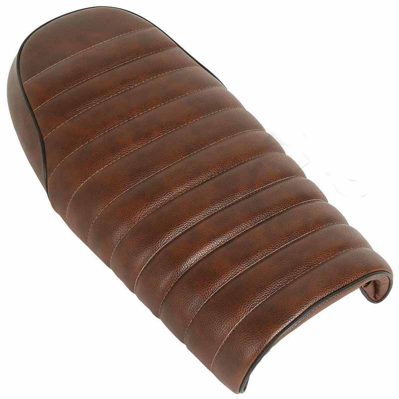 Brown Vintage Motorcycle Flat Brat Type Seat Saddle Cushion for Honda CB CL Retro Cafe Racer Custom with Mount Metal Bracket