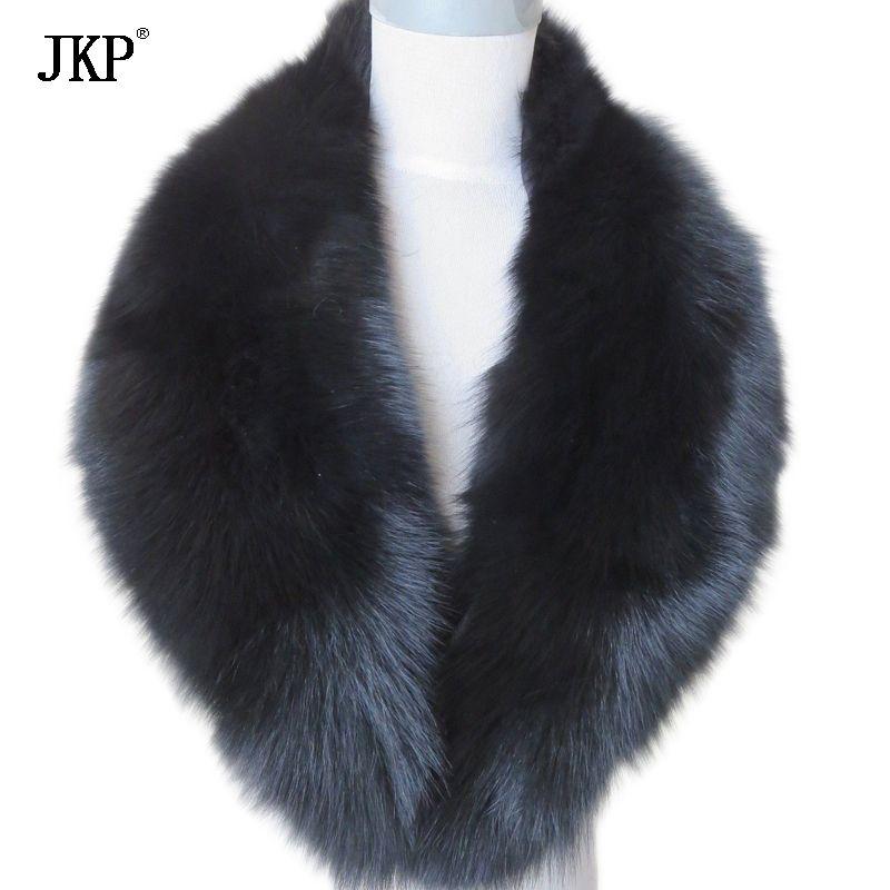 Echt Fuchs Pelz Kragen Frauen 100% Natürliche Fuchs Pelz Schal Winter Warme Pelz Kragen Schals Schwarz