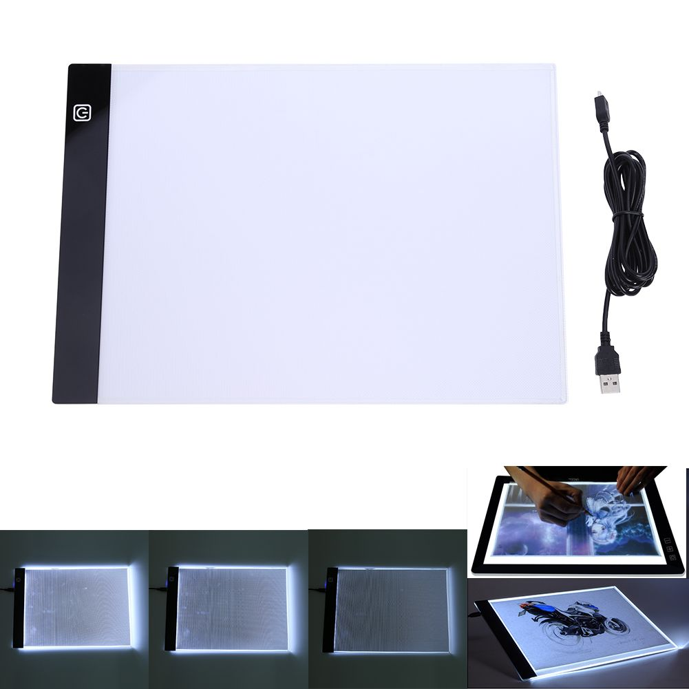 Three-level Dimming A4 LED Writing Painting Light Box Tracing Board Copy Pads Drawing <font><b>Tablet</b></font> Artcraft A4 Copy Table LED Board