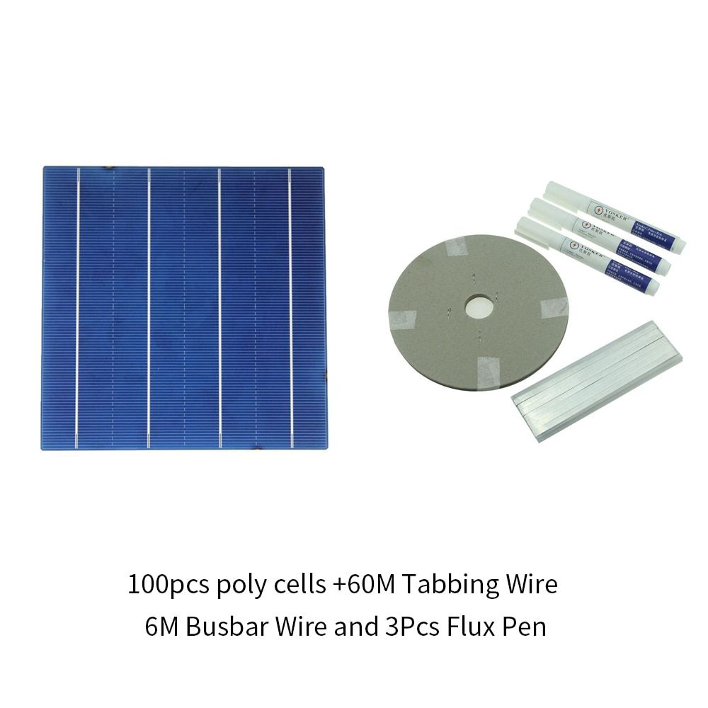 100Pcs Polycrystall Solar Cell 6x6 With 120M Tabbing Wire 10M Busbar Wire and 5Pcs Flux Pen