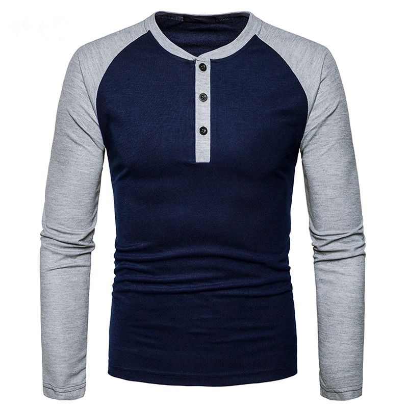 Men T-Shirt 2017 Autumn New Long Sleeve O-Neck T Shirt Men Brand Clothing Fashion Button placket Patchwork Cotton Tees Tops