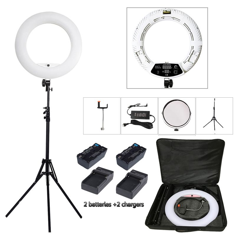 Yidoblo White FD-480II LED Ring lamp Light Make up Lighting sefie ring lamp set + standing (2M)+ bag + batteries