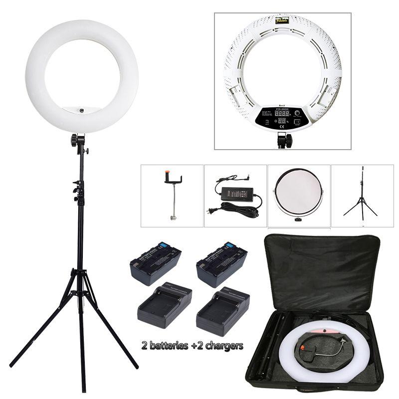 Yidoblo White FD-480II LED Ring lamp Light Make up Lighting sefie ring lamp set + standing (2M)+ bag + batteries