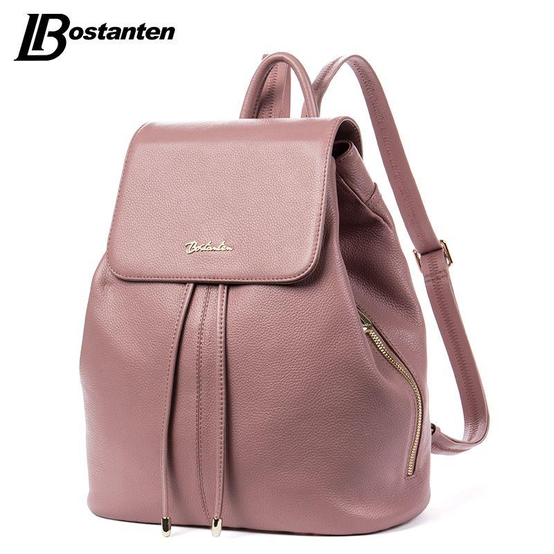 BOSTANTEN Fashion Designer Cow Genuine Leather Women Backpack Drawstring School Bags For Teenagers Girls Female Travel BackPack