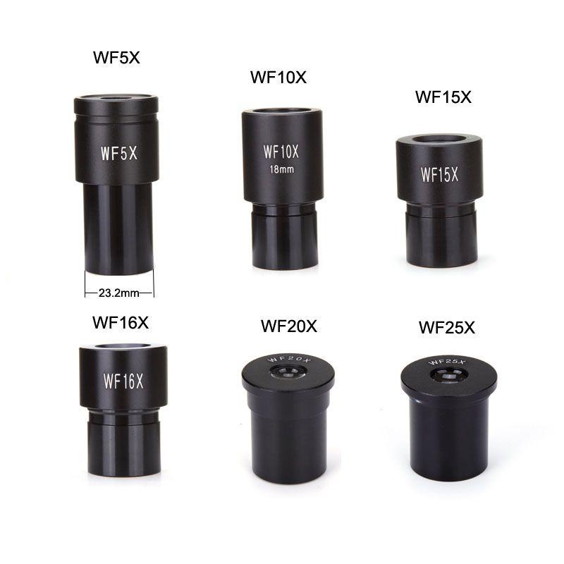 Oculaire de Microscope biologique WF5X WF10X WF15X WF16X WF20X WF25X accessoires de lentille de Microscope lentilles monoculaires à grand Angle