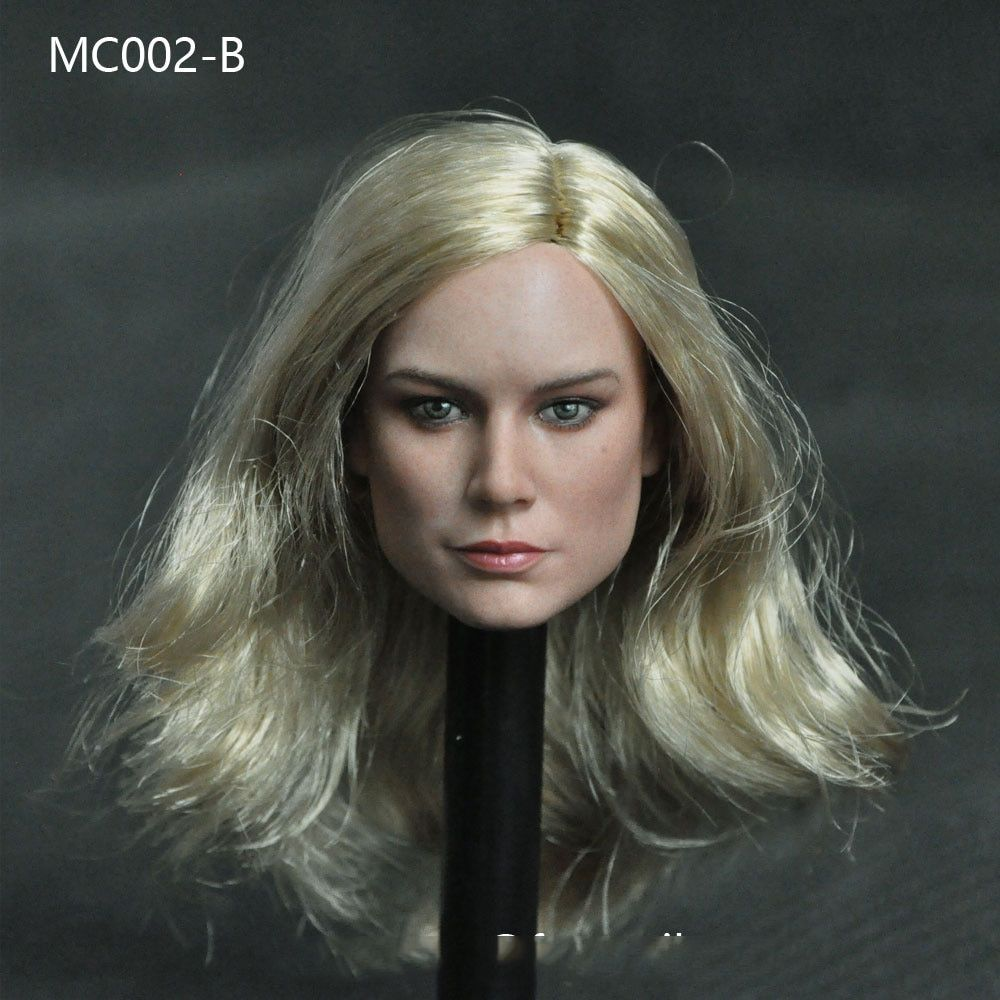 In stock 1/6 MC002 Brie Larson Female Head Sculpt Long Curly Yellow Hair for 12''Action Figures Bodies Accessories Toys Gifts