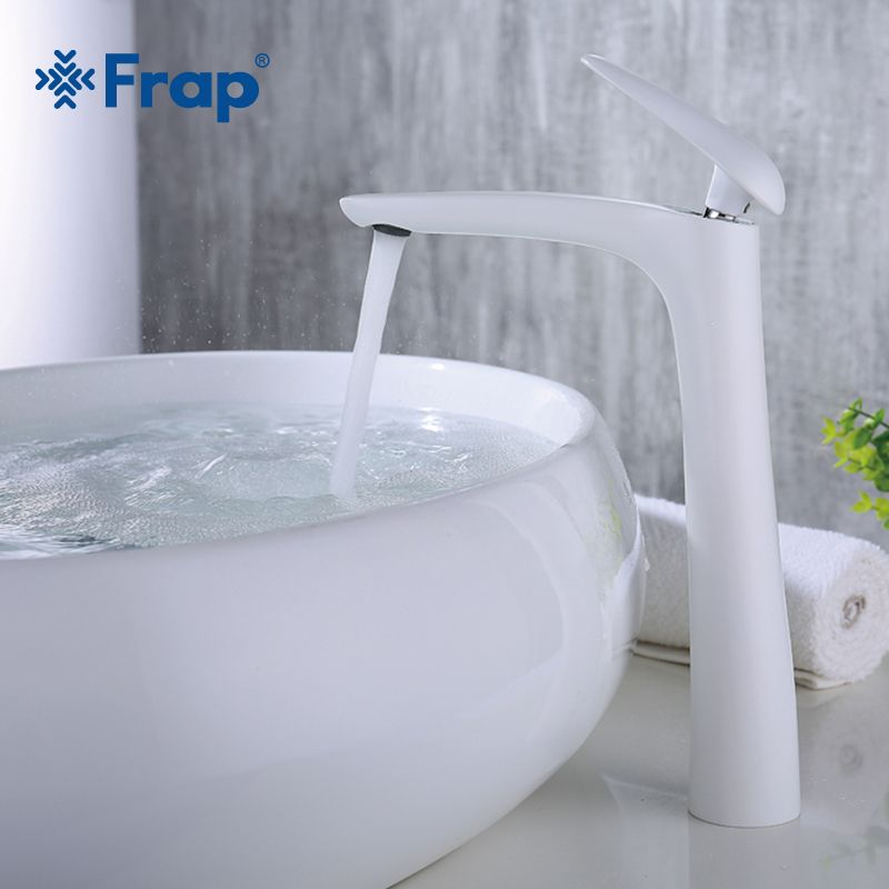 Frap 2018 New brass tall white Spray paint bathroom Basin faucet Bath sink tap Crane Torneira cold and hot water mixer Y10016