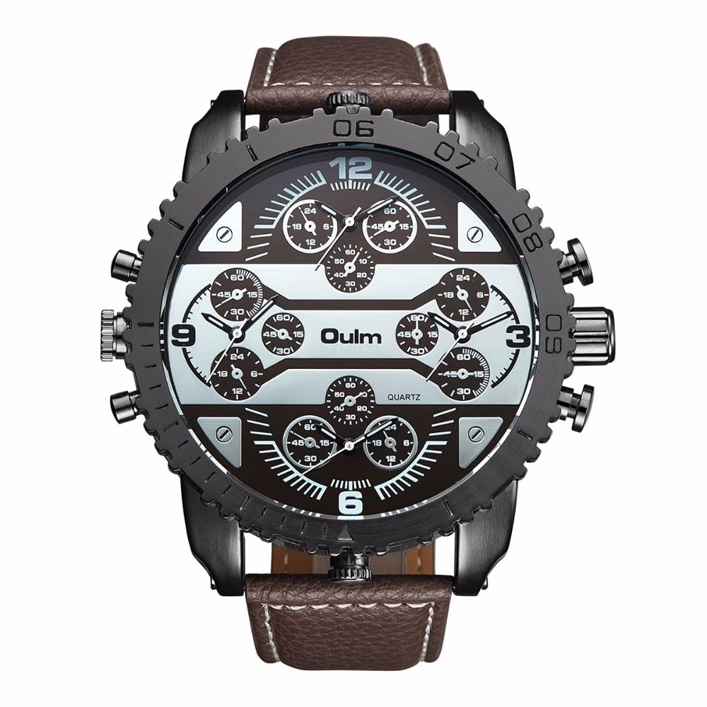 2018 Fashion Brand Oulm High Quality Men Watches Quartz Watch Male Wristwatch New With Tags Buckle Leather Fast Shipping Alloy