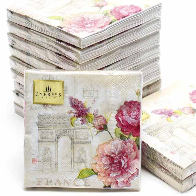 Cocktail napkins-20pcs 25*25 cm 3-ply rose de mariage serviettes en papier pour découpage serviettes en papier belle serviettes-4NC4160B