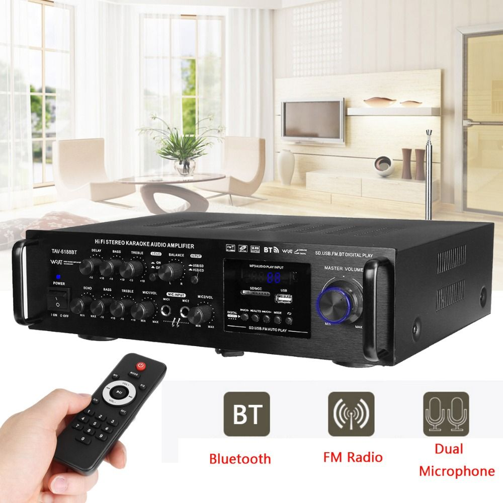 220-240V 2000W 4 -16 ohm Stereo Karaoke Home Bluetooth Amplifier Wireless Version Digital Audio Amplifier Audio Support 2 MIC