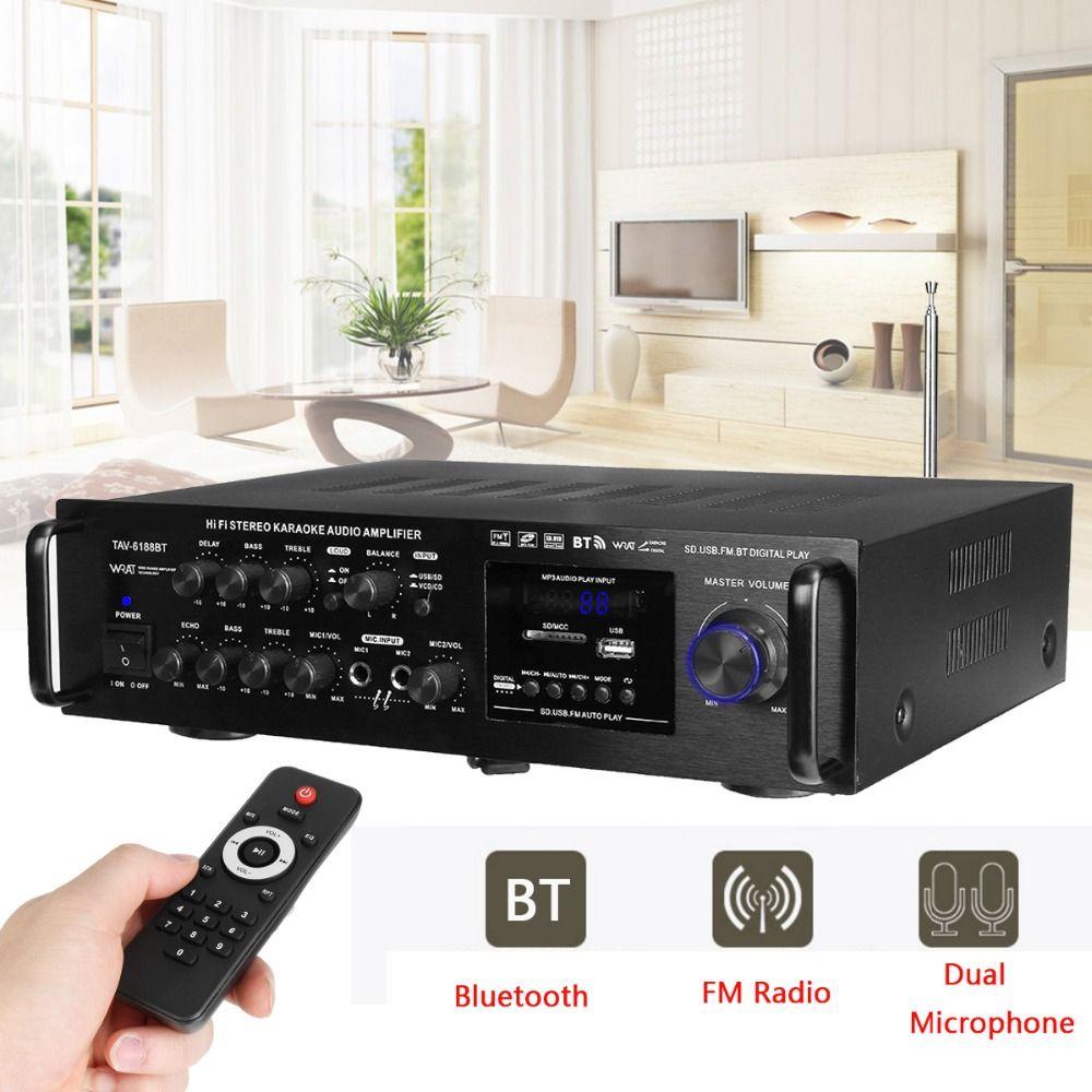 220-240V 2000W 4 -16 ohm Stereo Karaoke Home Bluetooth Amplifier Wireless Version Digital Audio Amplifier Audio Support 2 MIC