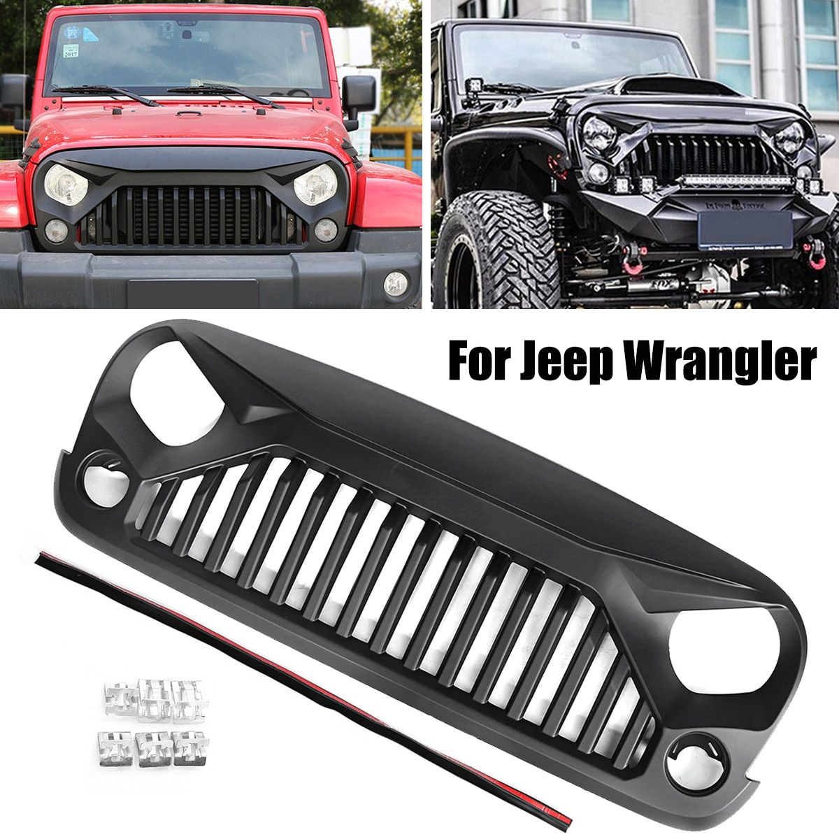 Car Racing Grills Insert Mesh Bumper Grille Circle Front Auto Grills for Jeep 2007-2017 for Wrangler JK V2 Front Hood Grille